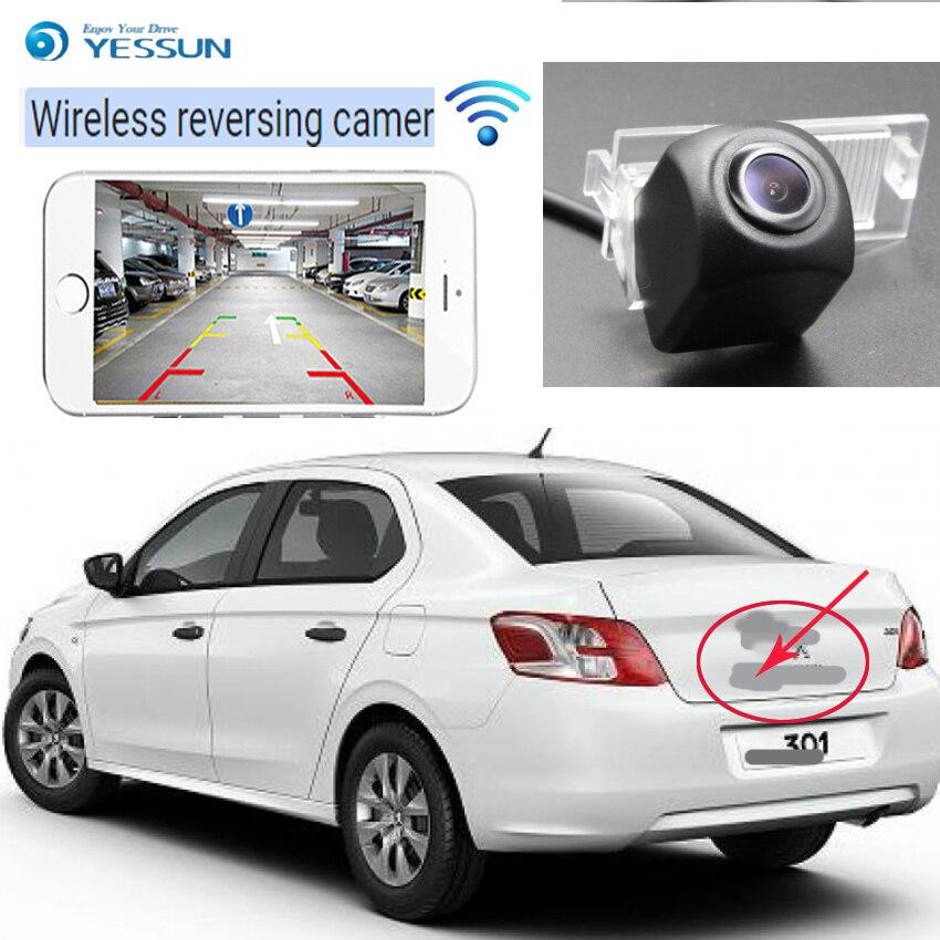 YESSUN voiture hd caméra de recul sans fil pour Peugeot 301 308 408 508 C5 307 (hayon) 307CC 2013 ~ 2015 Vision nocturne CCD CAM