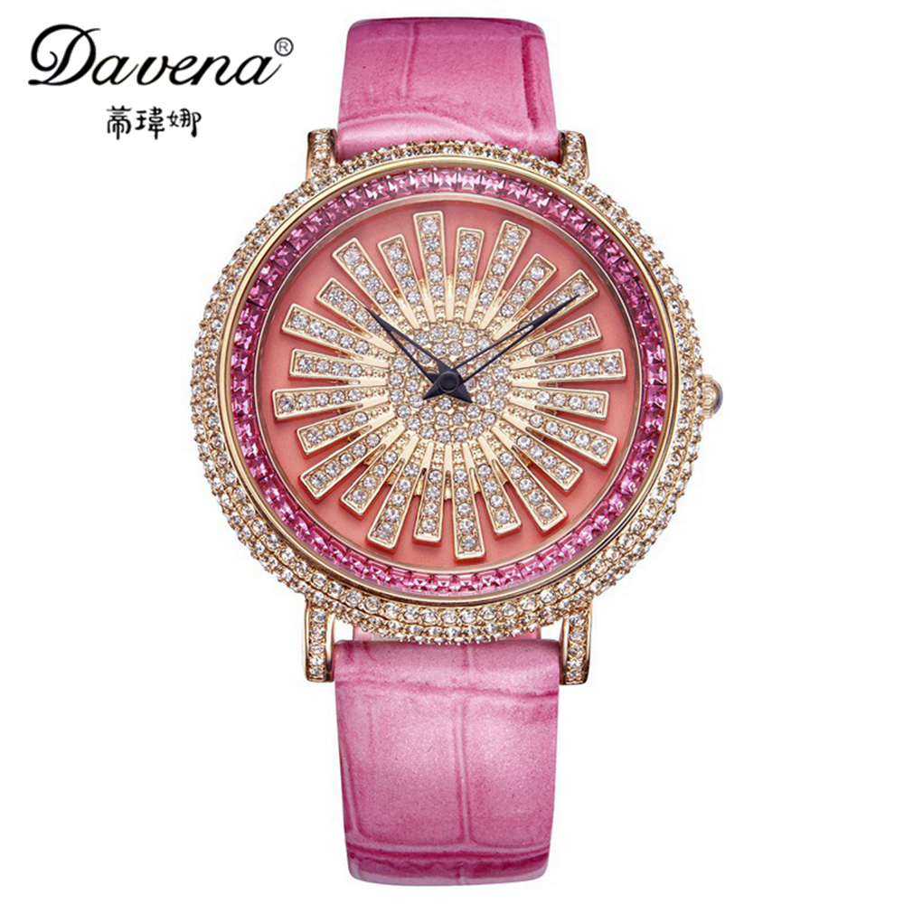 Hot sun flower female crystal wristwatch women dress rhinestone watches fashion casual quartz watch Luxury Davena 30064 clock luxury top brand guanqin watches fashion women rhinestone vintage wristwatch lady leather quartz watch female dress clock hours