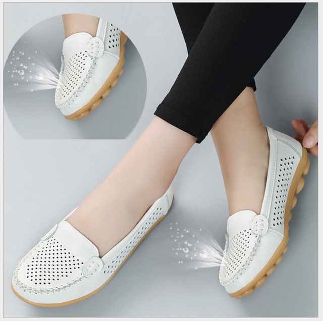 11b8739d64a8 2018 Spring summer Genuine leather women flats shoes female casual flat  shoes women loafers shoes slips soft leather nurse shoes