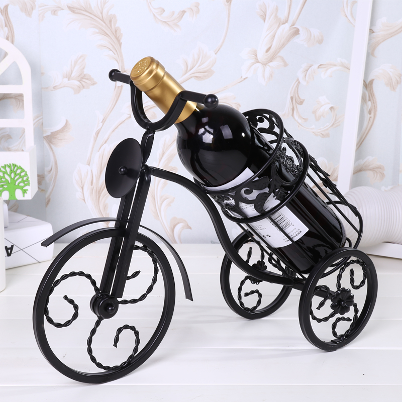 Metal Figurine Home Decoration Accessories Handwork Tricycle Model Ornaments American Living Room Shop Cafe Desk Red Wine Rack