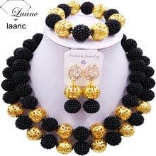 Laanc мода имитация жемчуга черные африканские Свадебные бусы нигерийские Свадебные комплекты ювелирных изделий 2CSZ008