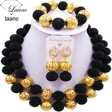 Laanc Fashion Simulated Pearl Black African Wedding Beads Nigerian Wedding Jewelry Sets 2CSZ008 laanc yellow simulated pearl beads african jewelry set nigerian wedding necklace sp1r012