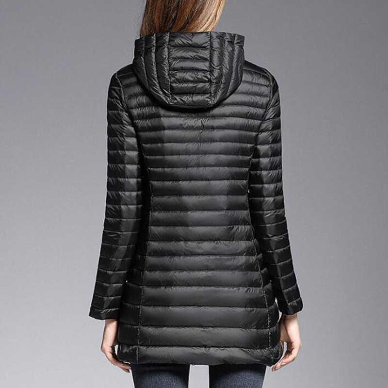 EORUTCIZ зима плюс размер 6XL пуховое пальто женское длинное ультра легкое пальто с капюшоном осеннее тонкое винтажное повседневное тонкое пальто LM515