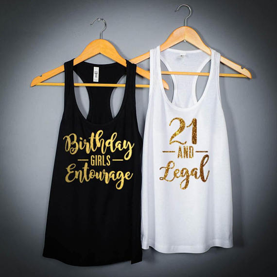 Personalized 21st Birthday Girls Entourage Twenty One And Legal Party Tank Tops Tees Bridal Shower T Shirts Favors GIFTS