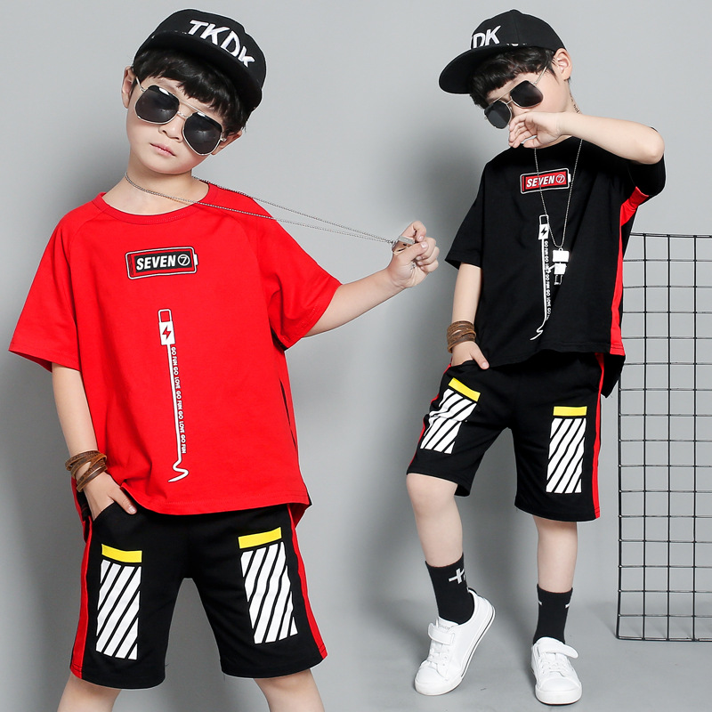 Boys summer suit 2019 new boys loose fashion sports suit pure short sleeved T shirt striped sports pants boys cool suit in Clothing Sets from Mother Kids