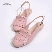 Phụ nữ Retro falt dép da chính hãng tassel quảng trường toe thời trang handmade Lady hồng bạc Giày ngọt ngào