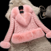 Rosa Faux Fur Coat para Mulheres New Casual Double Breasted Inverno Quente Grosso Magro Manga Comprida Casacos Outerwear KCXYJ08