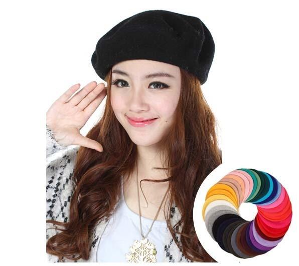 2ab6a5c743bd5 Al por mayor nueva belleza mujeres invierno lana Boinas CAPS elegante damas  primavera Fieltro boina sombreros