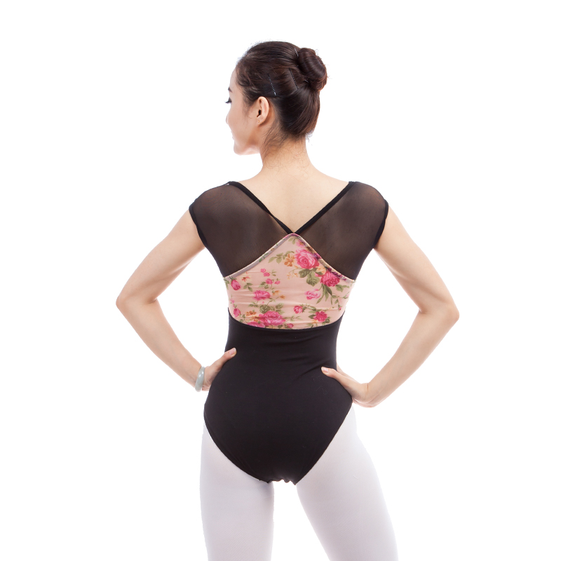Ballet Leotards For Women Black Chiffon Printing Adult Short Sleeve Gymnastics Leotards For Women Ballerina Dance Adult Leotard