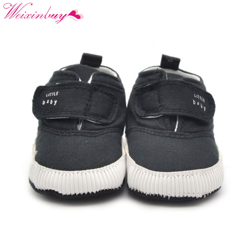 Baby Kids Boy Crib Shoes Toddler Anti-slip Ankle Canvas Prewalker Sneaker 0-18M
