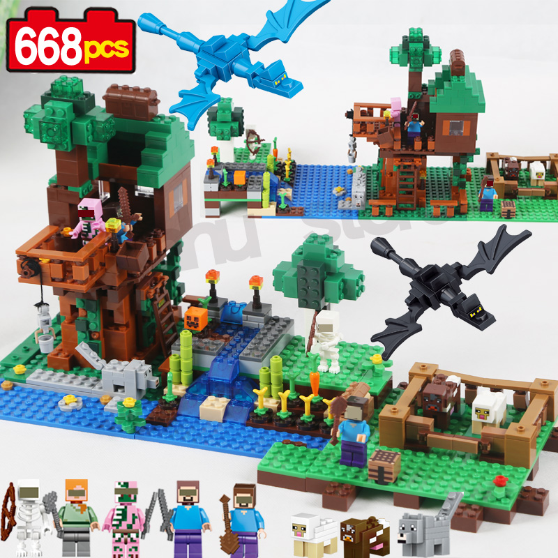 Qunlong My World Jungle Tree House minecrafted Farm steve zombie Model Building Block Kit Classic Educational Children Toys Gift loz mini diamond block world famous architecture financial center swfc shangha china city nanoblock model brick educational toys
