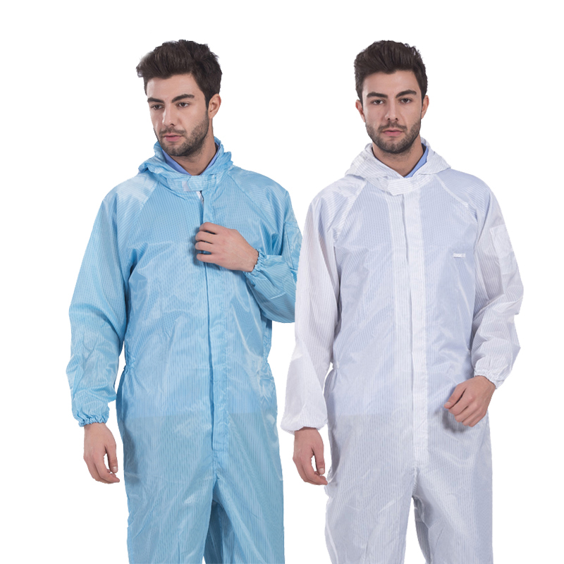 Men Anti-static Coverall Hooded  Cleanroom Garments Protective Work Clothing Dust-proof Paint Factory Working Uniforms Overalls