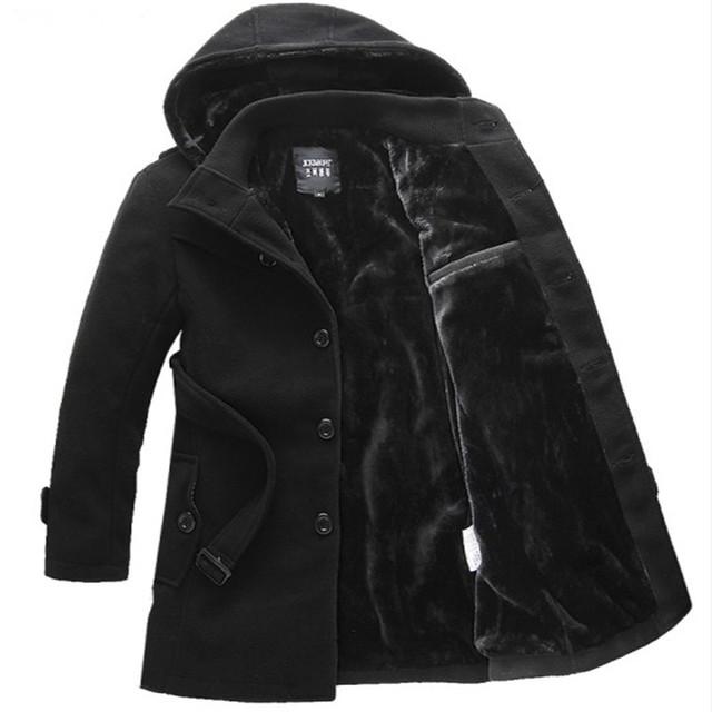 Novo 2016 inverno estilo casual espessamento casaco com capuz de lã com cinto casaco de lã quente dos homens tamanho da roupa dos homens m-6xl NDY14