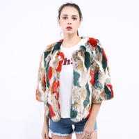 New Autumn Winter Faux Fur Coat Women Covered Button Bright Camouflage 3/4 Sleeve Ladies Fur Jackets Round Collar Female Jacket