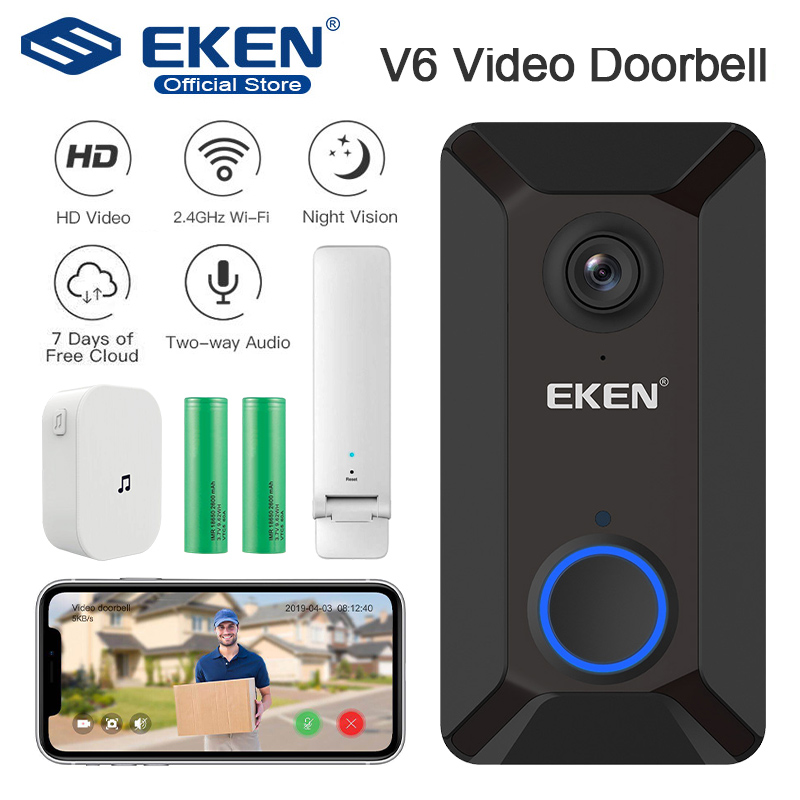 EKEN V6 Smart WiFi Video Doorbell Camera IP Door Bell Wireless Home Visual Intercom APP Control Security Camera
