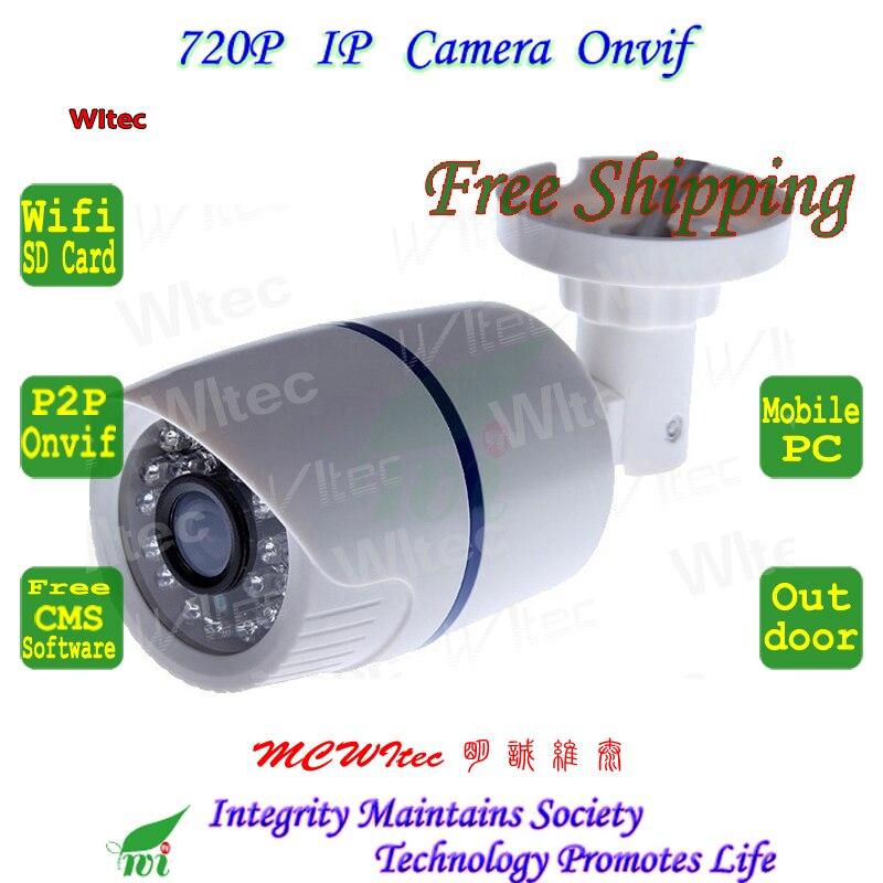 SD Card Built in WIFI 720P IR Security Bullet ONVIF Waterproof Night Vision P2P IP Cam IR Cut 1.0MP Network Megapixel Camera
