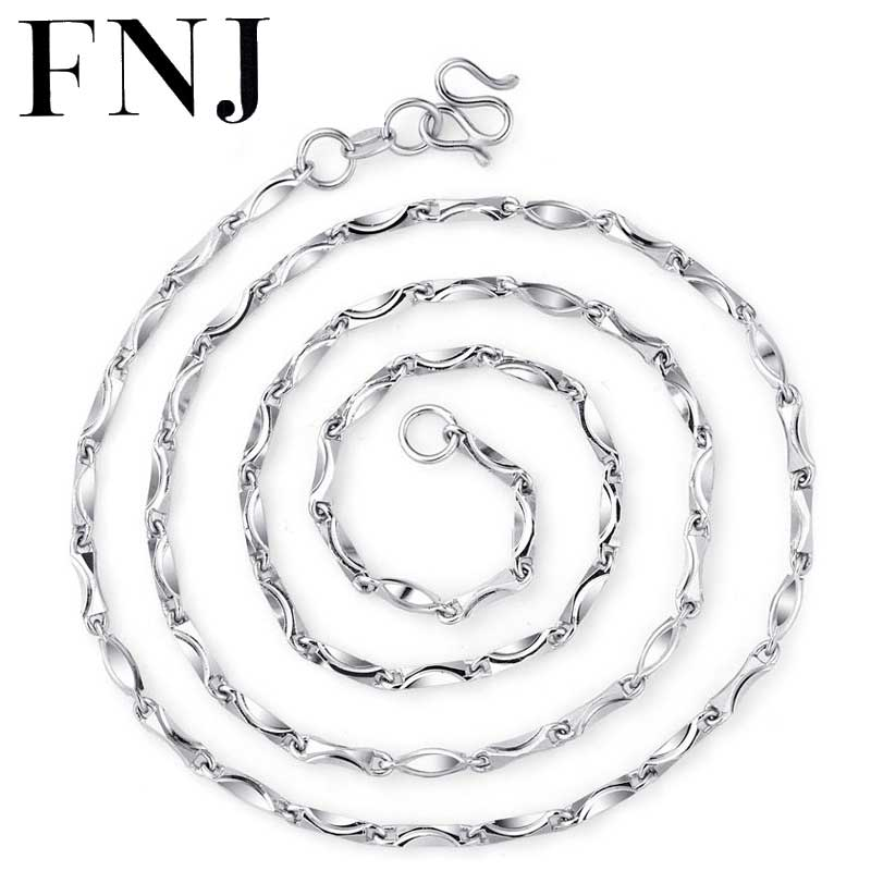 FNJ 925 Silver Chain 3mm 45cm Original S925 Sterling Silver Necklace for Women Jewelry Girl Gift inzatt vintage geometric gold heart square pendant necklace 925 sterling silver fashion jewelry 45cm 55cm chain for women gift