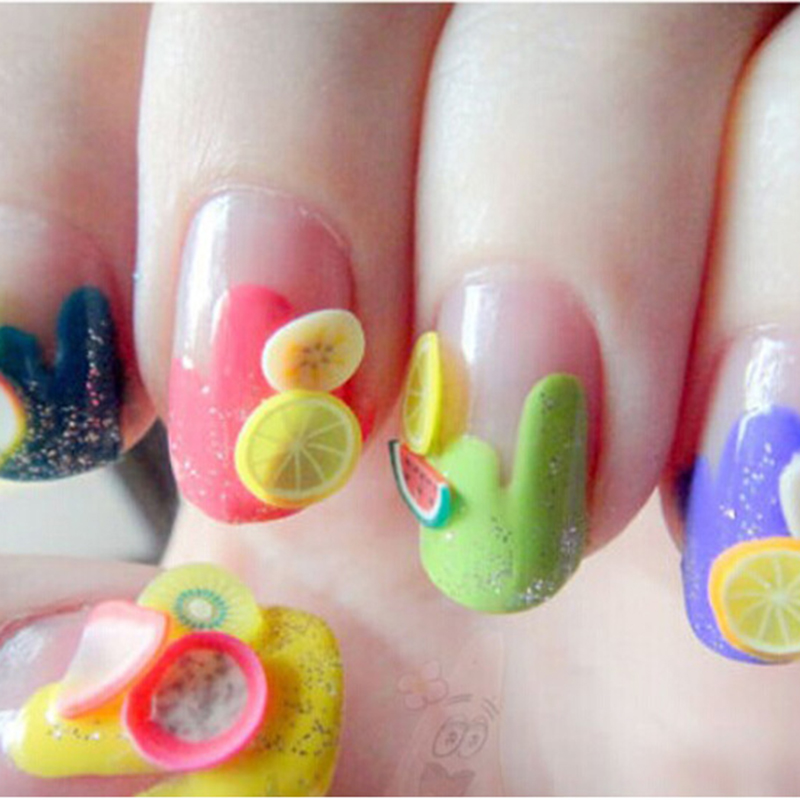 Soft Pottery 1000pcs Fruit Slices Filler For Nails Art Tips Slime Fruit For Kids Lizun DIY Slime Accessories Supplies Decoration