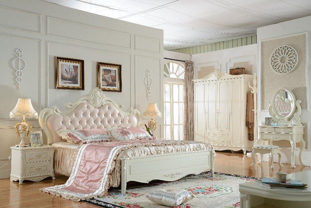 King size solid wood hand carved antique bedroom furniture set