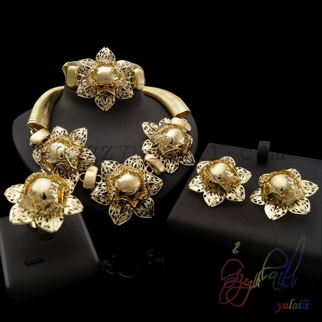 22ct gold color fashion jewelry sets copper flower jewelry set