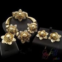 22ct goud kleur mode-sieraden sets koper bloem sieraden set guangzhou mode sieraden