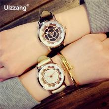 Luxury Stylish Rose Gold Hollow Flower Dial Leather Round Dial Quartz Watch Wristwatches Gift for Women Ladies Girls