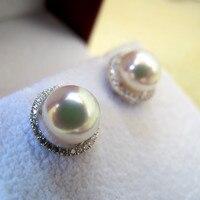 Eternal wedding Women Gift word 925 Sterling silver real Japan Akoya natural seawater pearl stud earrings white K inlay genuine
