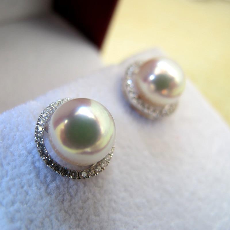 Mariage éternel femmes cadeau mot 925 argent Sterling réel japon Akoya naturel eau de mer perle boucles d'oreilles blanc K incrustation véritable