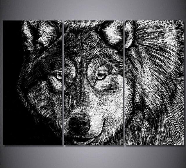 3 piece lukisan kanvas cetakan gambar serigala hitam putih hewan lukisan poster hd poster mencetak untuk