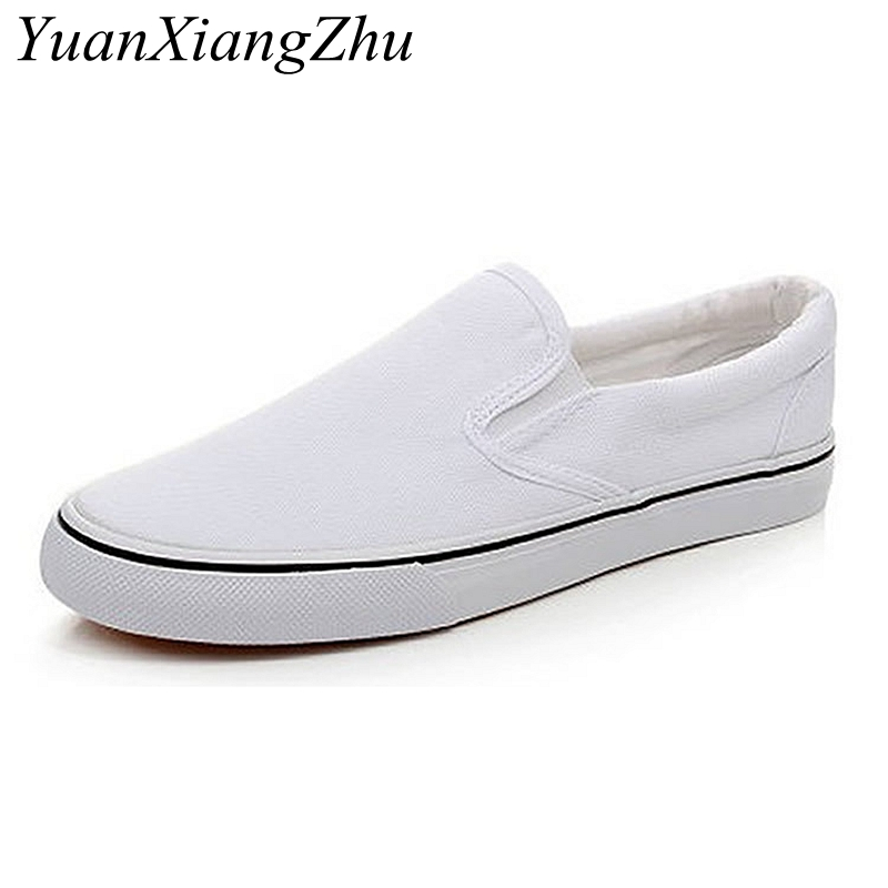 Image 5 - Black White Solid Men Casual Shoes Simple Canvas Mens Loafers 2019 High Quality Anti Slip Comfortable Vulcanized Shoes Man Flats-in Men's Casual Shoes from Shoes