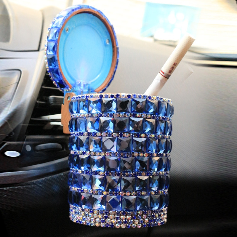 Car Outlet Air Ashtray With Light Crystal Rhinestones Diamond Led Car Ash Tray Storage Cup Holder Auto Interior Accessories