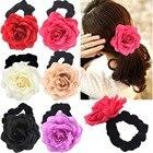 6 Colors Rose Flower Hair Scrunchies Velvet Elastic Hair Bands Hair Ponytail Holder Scrunchy Ties Vintage Accessories for Girls
