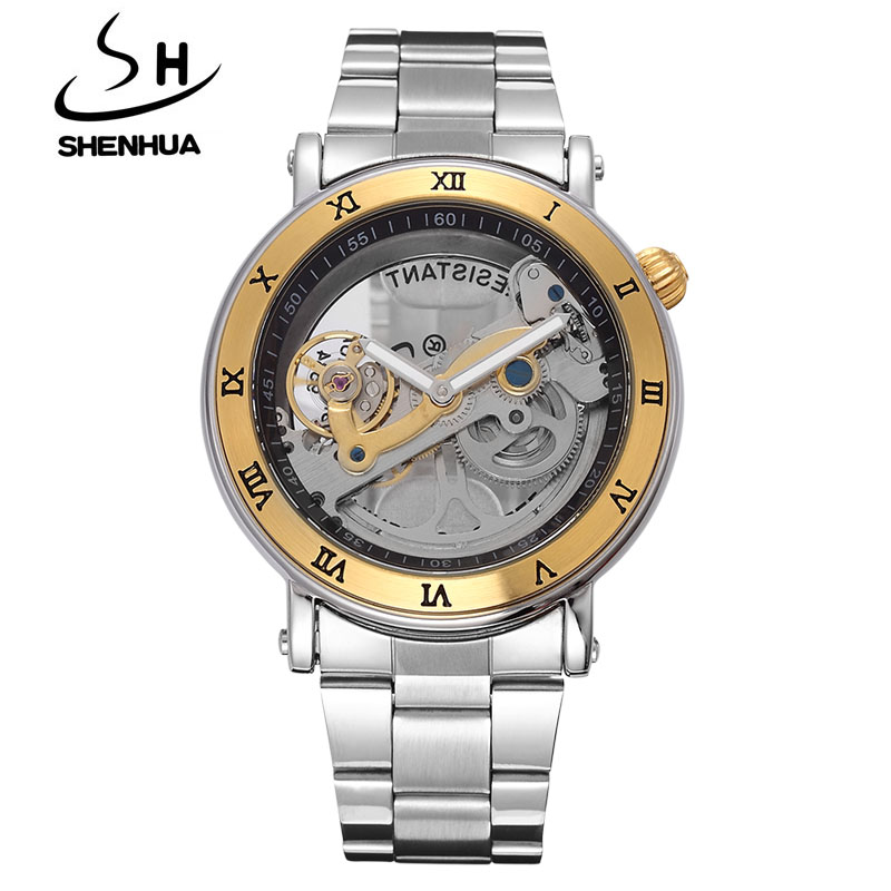 SHENHUA Luxury Gold Flywheel Automatic Mechanical Skeleton Watch Men Male Waterproof Clock Hollow Transparent Watch Wrist Watch купить