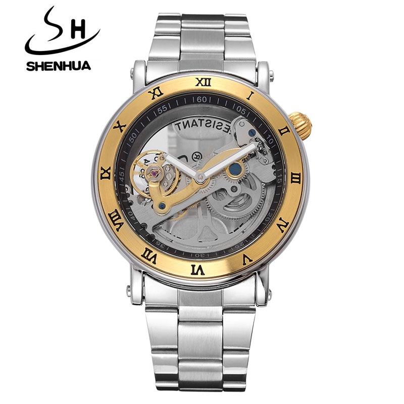 лучшая цена SHENHUA Luxury Gold Flywheel Automatic Mechanical Skeleton Watch Men Male Waterproof Clock Hollow Transparent Watch Wrist Watch
