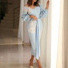 חדש הגעה V צוואר ארוך שרוול ערב שמלות תחרה אפליקציות ערב שמלות דובאי ערבית שמלת ערב 2020
