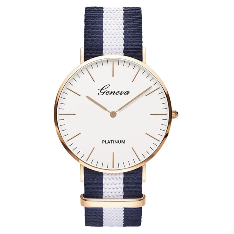 Venta caliente Nylon estilo de la correa de las mujeres del cuarzo reloj Relojes de marca de moda Casual reloj de pulsera Relojes