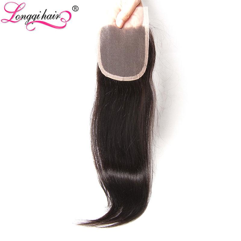 Longqi Hair Brazilian Straight Human Hair Closure Natural Color Remy Human Hair 4x4 Swiss Lace Closure