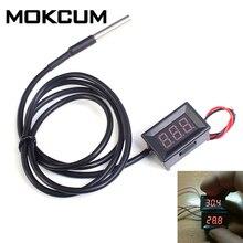 0,36 дюймов красный цифровой DS18B20 Термометр водонепроницаемый светодиодный дисплей датчик температуры метр тестер DC4-28V-55~ 125 Цельсия