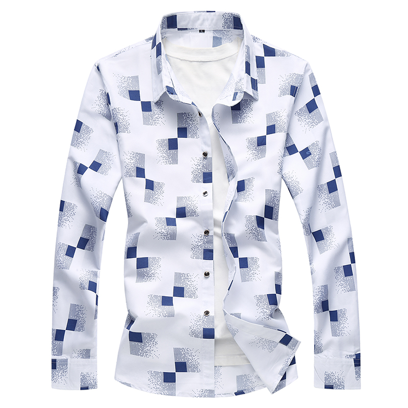 2018 Spring Plaid Print Man Shirt Long Sleeve Luxury Plus Size 7XL Shirt Silk Men Designer Dress Shirts Men