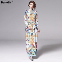 Banulin Runway Designer 2019 Spring Holiday Maxi Dress Women's Long Sleeve Gorgeous Printed Vintage Long Shirt Dress Vestido