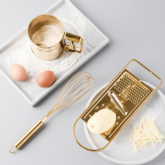 Creative Kitchen Baking Tool Set Golden Stainless Steel Egg Beater Sifter Sieve Powder Cup.jpg 640x640 - tabletop-and-bar, kitchen-tools - Royalty Golden Cooking Tools