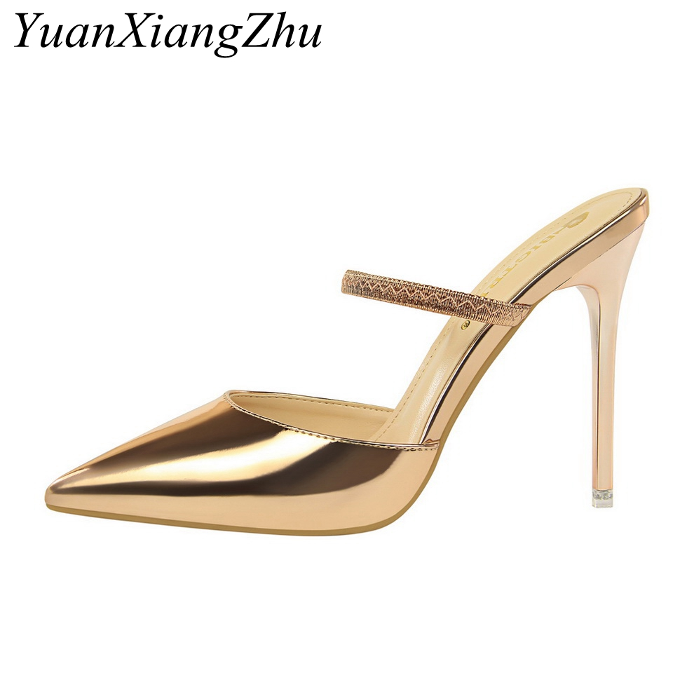 Women Pumps Sexy High Heels Sandals Woman Wedding Party High Heels Gold silver Shoes 2018 Summer New Ladies High-heeled Slippers hee grand cross tied women sandals summer sexy square high heels flock wedding shoes woman elegant pumps ladies 3 colors xwz2049