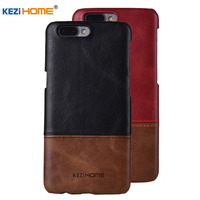Case For OnePlus 5 KEZiHOME Luxury Hit Color Genuine Leather Hard Back Cover Capa For OnePlus