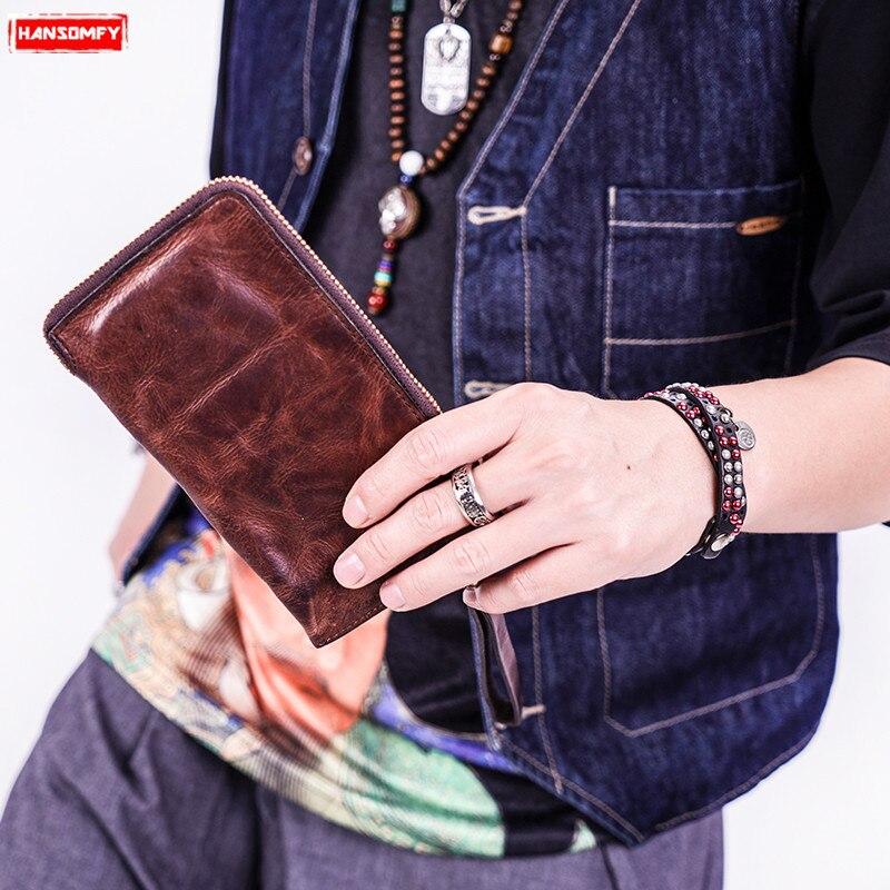 Portefeuille long rétro en cuir véritable fait à la main pour hommes style décontracté sac de téléphone à glissière pour jeunes portefeuilles ultra-mince en porte-cartes en cuir souple