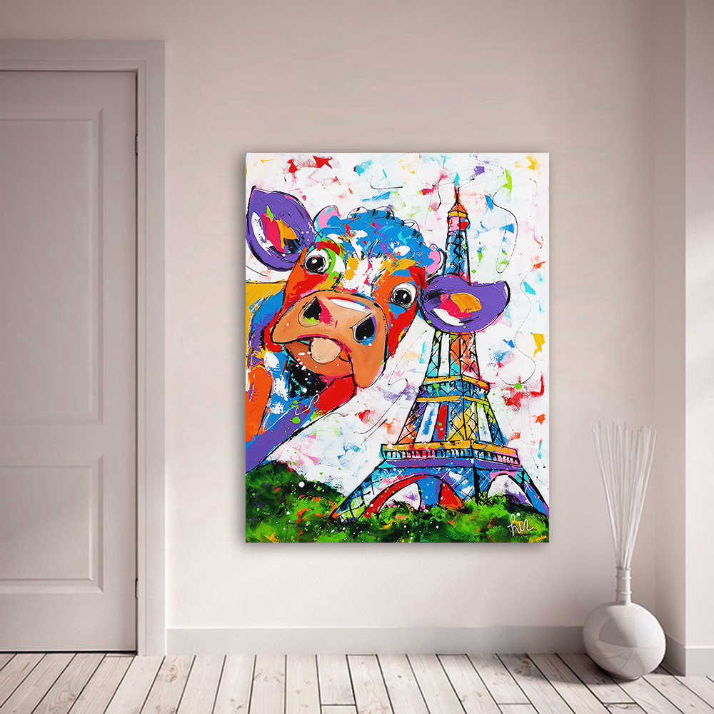 HDARTISAN Vrolijk Schilderij Wall Art Canvas Painting Animal Cow Effiel Tower Picture Prints Home Decor No Frame