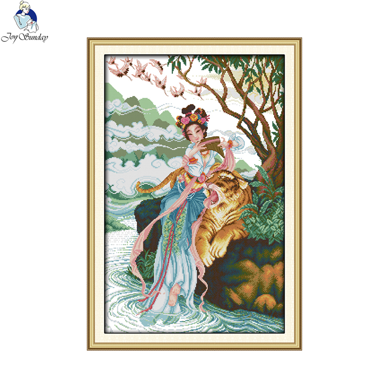 Joy Sunday The Fairy and Tiger Picture DMC Counted Cross-stitch 11CT 14CT DIY Cross Stitch Kits for Embroidery Home Decor image