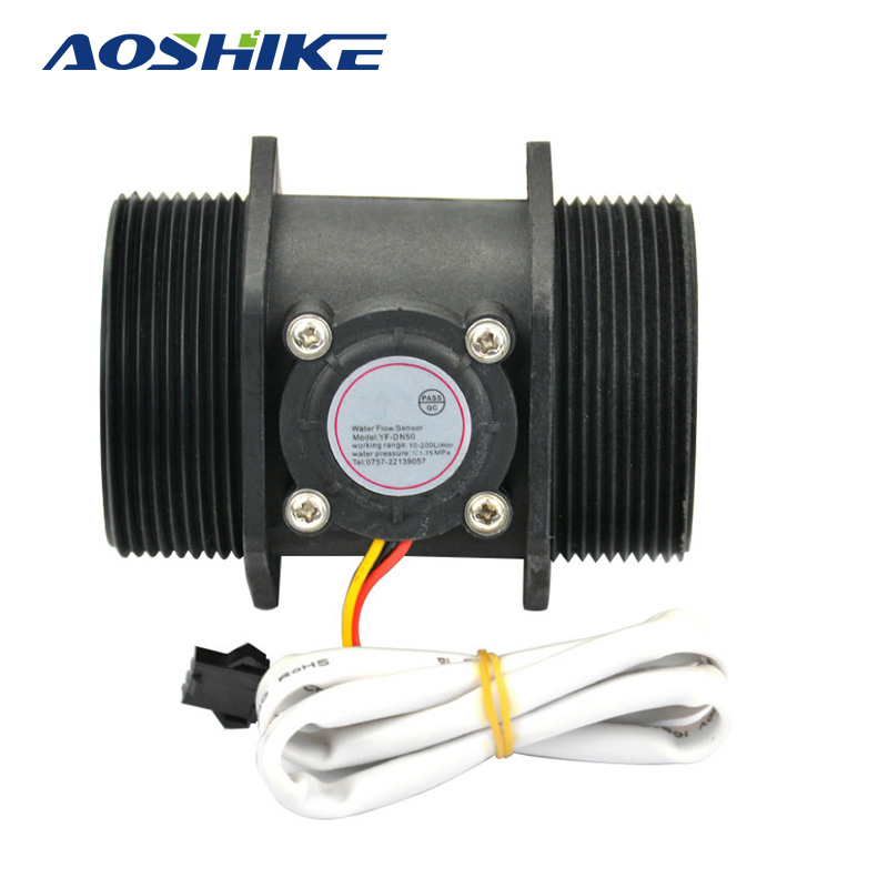 AOSHIKE 1pcs Water <font><b>Flow</b></font> Sensor DN50 3-24V 2.0 Inch 10-200L/min Diameter Turbine Flowmeter Hall Sensor <font><b>Flow</b></font> Meter Switch Counter