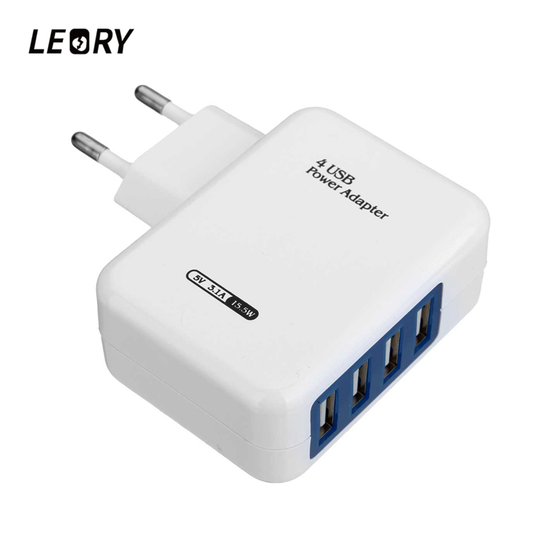 LEORY EU US Plug 4 Ports USB Charger Adapter 5V 3.1A Fast Charging USB HUB Wall Charger For iPhone/iPad For Samsung/Xiaomi