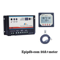 EPIPDB COM 20A 12V 24V Dual Duo Two Battery Solar Charge Controller Regulators with MT1 MT 1 remote Meter Display