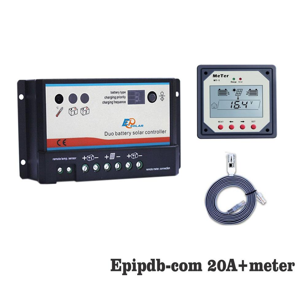 EPIPDB-COM 20A 12 v 24 v Double Duo Deux Batterie Solaire Contrôleur de Charge avec MT1 MT-1 Affichage du Compteur à distance